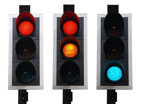 set of british traffic lights isolated on white background