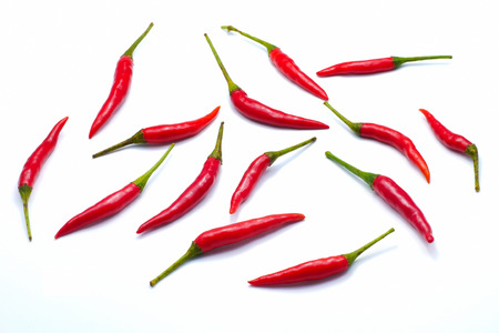 Photo for Red bird's eye chilli pepper isolated on white background , close up - Royalty Free Image