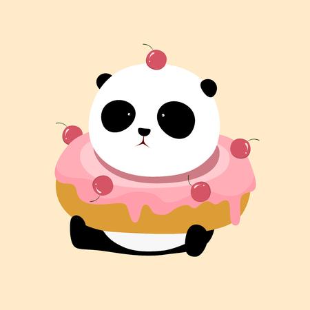 Ilustración de A cute cartoon giant panda is sitting on the ground, with a big pink strawberry / cherry flavor doughnut / donut / bagel on his neck. - Imagen libre de derechos