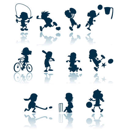 A collection of silhouettes / cutouts of children engaged in various sporting activities.