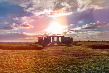 Photo for Stonehenge against the sun, Wiltshire, England - Royalty Free Image