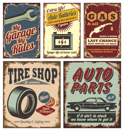 Photo for Vintage car metal signs and posters  - Royalty Free Image
