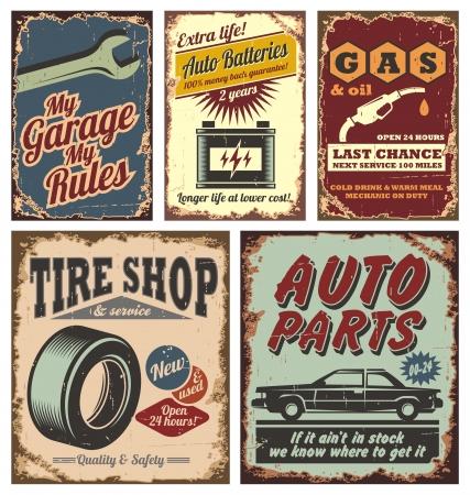 Foto de Vintage car metal signs and posters  - Imagen libre de derechos