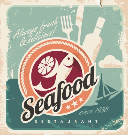 Photo for Vintage poster for seafood restaurant. Retro old paper background with fish and food. - Royalty Free Image