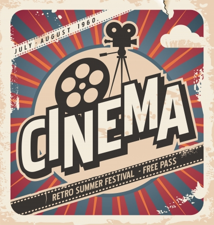 Ilustración de Retro cinema poster movie poster for summer festival  Vintage background illustration on old paper texture  - Imagen libre de derechos