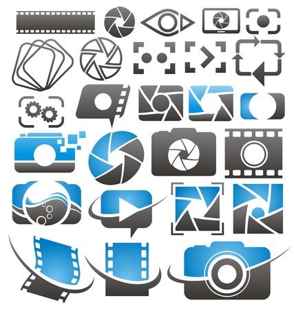 Ilustración de Set of  photography and video icons, symbols and signs  Photo and camera design elements collection   - Imagen libre de derechos