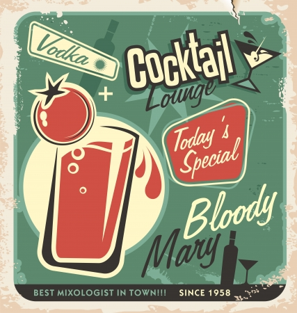Ilustración de Promotional retro poster design for one of the most popular cocktails Bloody Mary  Vintage cocktail bar design with special daily offer  Food and drink concept on scratched old textured paper  - Imagen libre de derechos