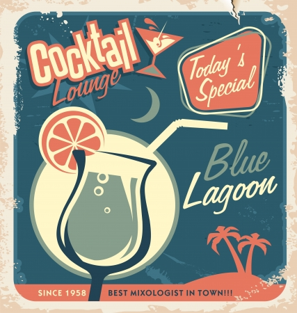 Ilustración de Promotional retro poster design for one of the most popular cocktails Blue Lagoon  Vintage cocktail bar design with special daily offer  Food and drink concept on scratched old textured paper  - Imagen libre de derechos