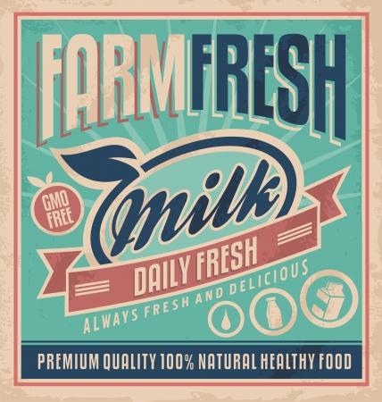 Ilustración de Retro farm fresh milk poster template - Imagen libre de derechos