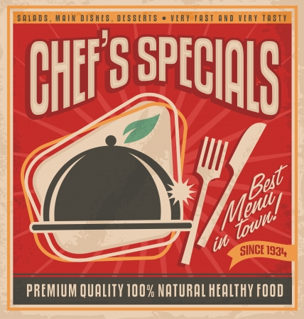 Illustration for Retro poster template for best restaurant in town - Royalty Free Image