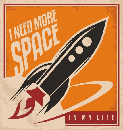 Ilustración de Creative design concept with rocket and space - Imagen libre de derechos