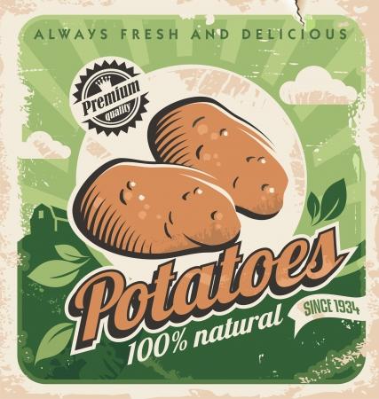 Illustration pour Vintage poster template for potato farm - image libre de droit