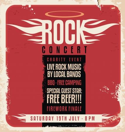 Illustration pour Rock concert retro poster design - image libre de droit