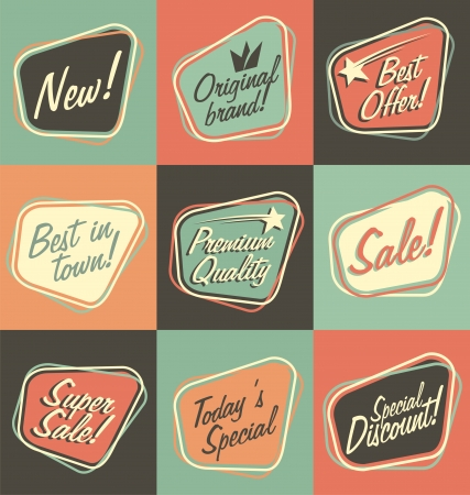Illustration pour Retro labels - image libre de droit