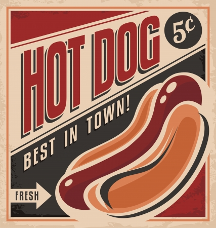 Photo for Retro hot dog vector poster design - Royalty Free Image