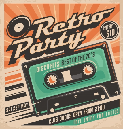 Illustration for Retro party poster design - Royalty Free Image