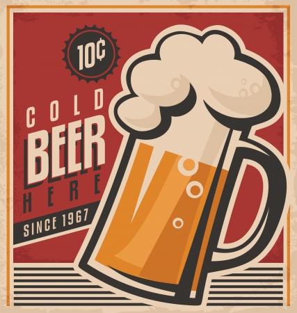 Photo pour Retro beer vector poster - image libre de droit