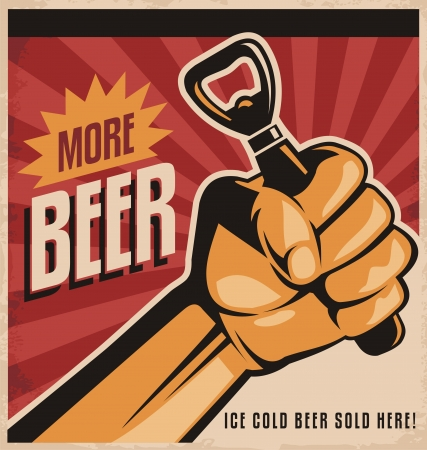 Beer retro poster design with revolution fist mural