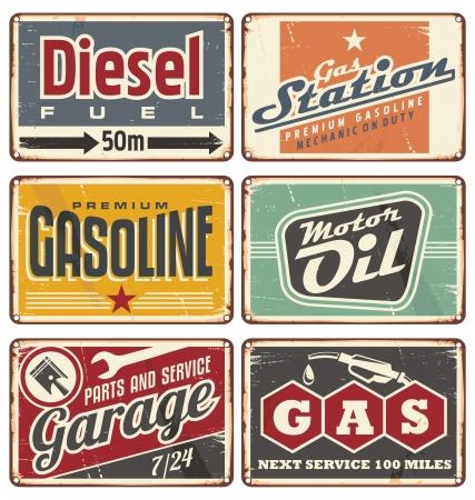 Illustration pour Gas stations and car service vintage tin signs collection - image libre de droit