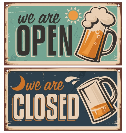 Illustration for Retro tin door signs set for pub or tavern - Royalty Free Image