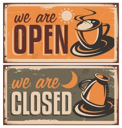 Illustration pour Retro door signs for coffee shop or cafe bar - image libre de droit