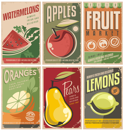 Illustration pour Collection of retro fruit poster designs - image libre de droit