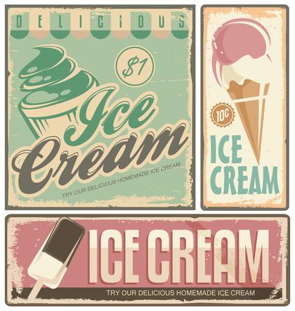 Illustration for Ice cream vintage metal signs set - Royalty Free Image