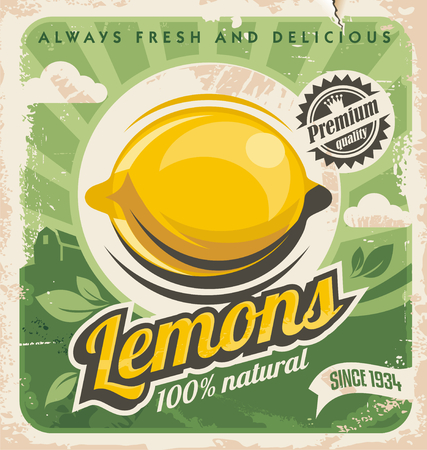 Photo for Retro poster design for lemon farm - Royalty Free Image