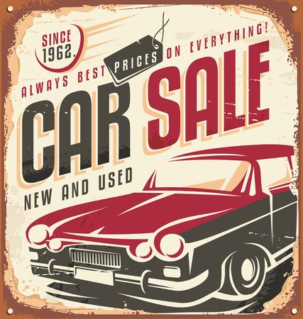 Illustration pour Car sale vintage sign - image libre de droit