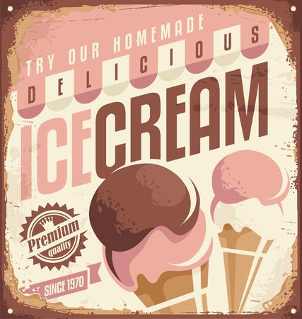 Illustration for Retro ice cream tin sign design concept - Royalty Free Image
