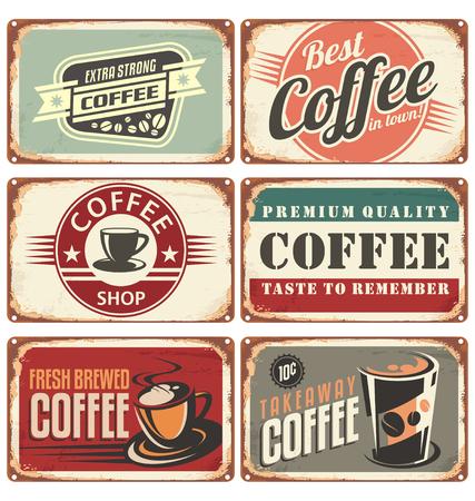 Photo pour Set of vintage coffee tin signs - image libre de droit