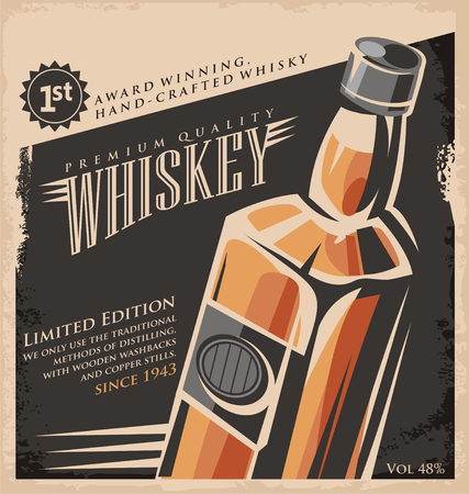 Whiskey vintage poster design template mural