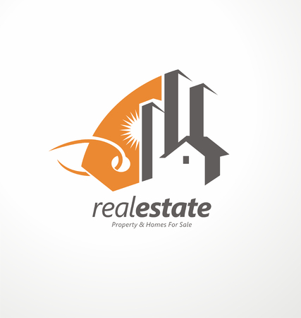 Ilustración de Creative symbol design for real estate company - Imagen libre de derechos