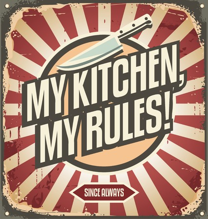 Photo for Vintage kitchen sign with promotional message - Royalty Free Image