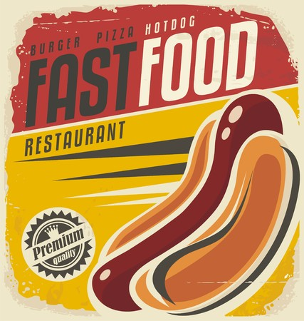 Photo for Hotdog retro poster design concept - Royalty Free Image