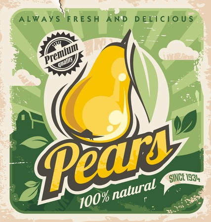 Photo for Retro pear poster design - Royalty Free Image