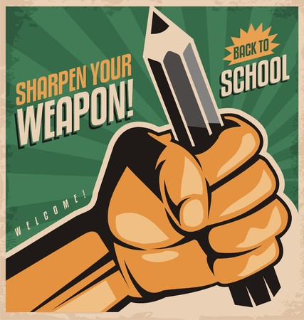 Photo pour Retro school poster design concept - image libre de droit
