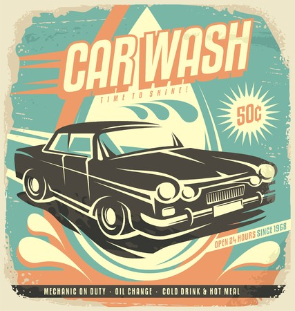 Photo pour Retro car wash poster design - image libre de droit