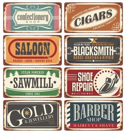 Illustration pour Vintage shop signs collection - image libre de droit