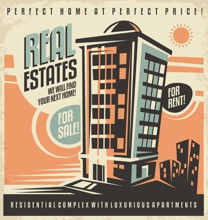 Illustration for Real estates vintage ad design concept - Royalty Free Image