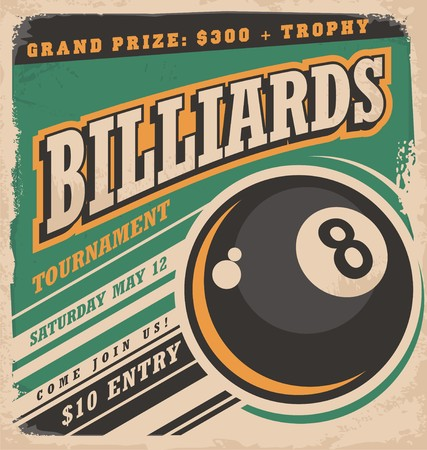 Photo pour Retro poster design for billiards tournament - image libre de droit