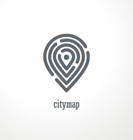 Illustration pour City map creative symbol concept - image libre de droit