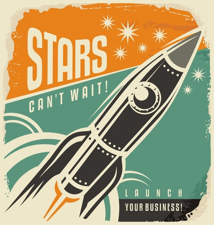 Foto per Retro poster with rocket launch - Immagine Royalty Free