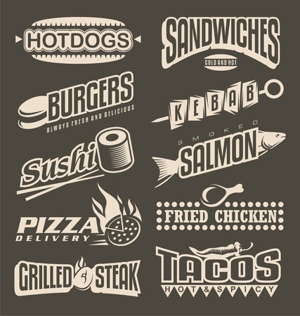 Ilustración de Fast food menu labels collection - Imagen libre de derechos