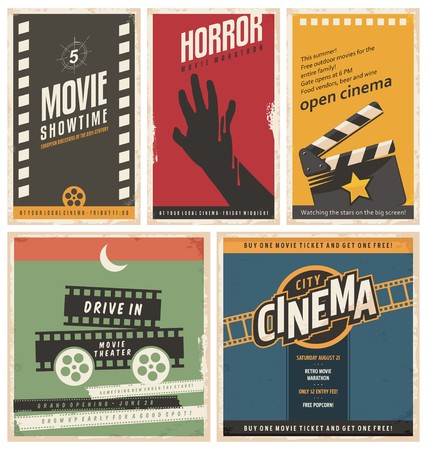 Ilustración de Retro cinema posters and flyers collection - Imagen libre de derechos
