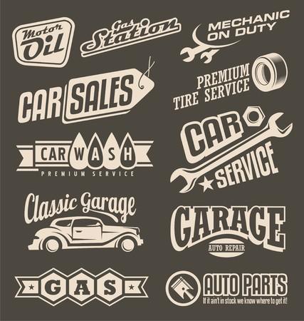 Illustration pour Car service and garage retro banner set - image libre de droit
