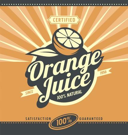 Illustration pour Orange juice retro ad concept - image libre de droit
