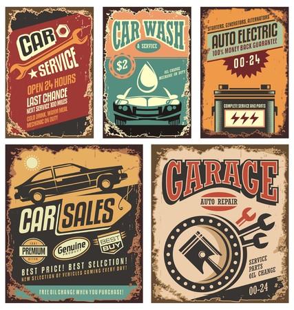 Ilustración de Vintage car service metal signs and posters  - Imagen libre de derechos