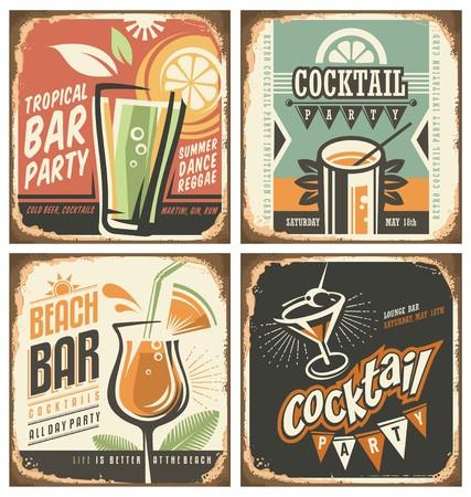 Photo pour Cocktail bar retro tin sign set - image libre de droit