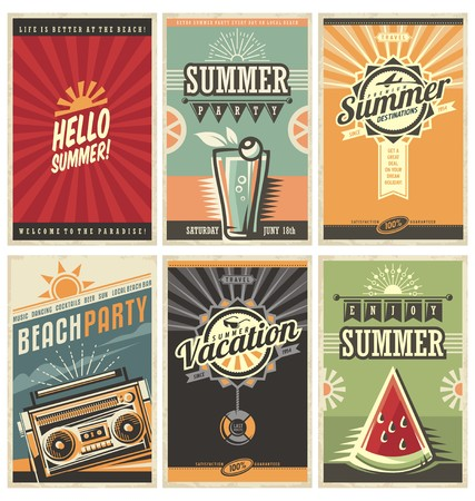 Photo pour Set of retro summer holiday posters - image libre de droit